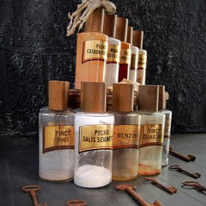 12 Victorian Chemist Apothecary Bottles (Sold)