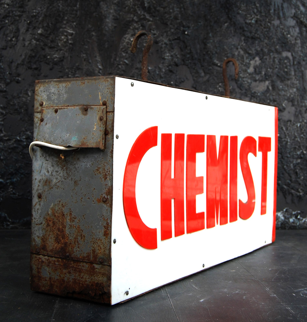 Vintage Double Sided Chemist Sign