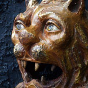 1880 Hand Carved Folk Art Lions Head