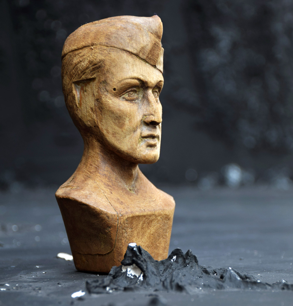 Hand Carved Soldier Bust