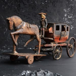 19th Century Toy Horse and Carriage