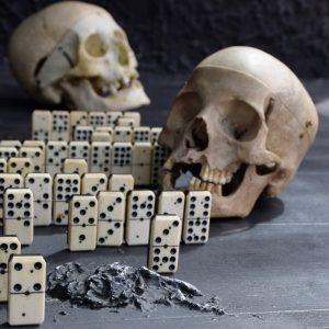 Ebony & bone dominoes c.1880