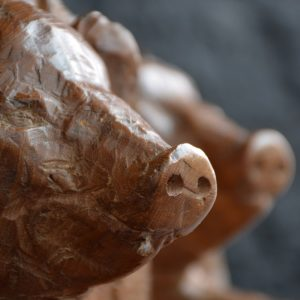 Folk-art wooden ham ends
