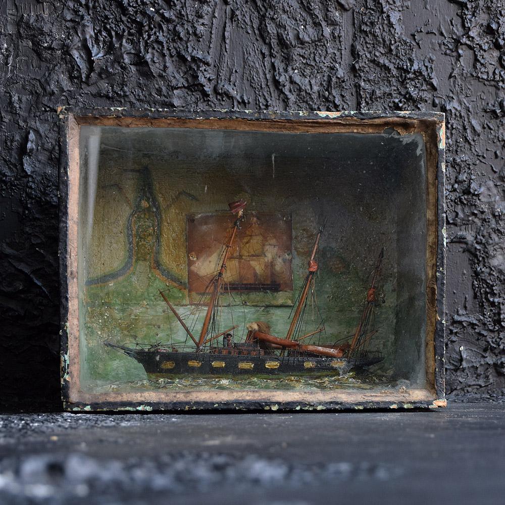 Folk art Ship Diorama c.1890
