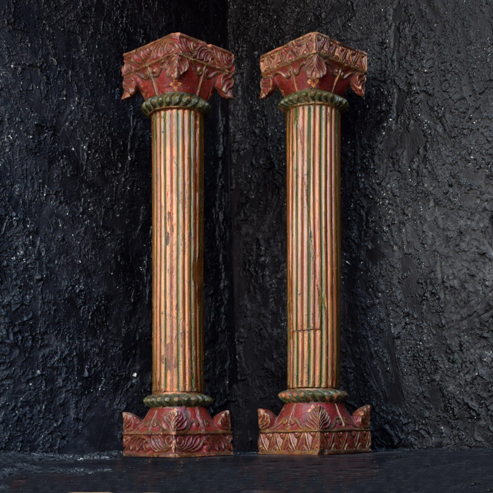 Early 20th Century Oak Pillars