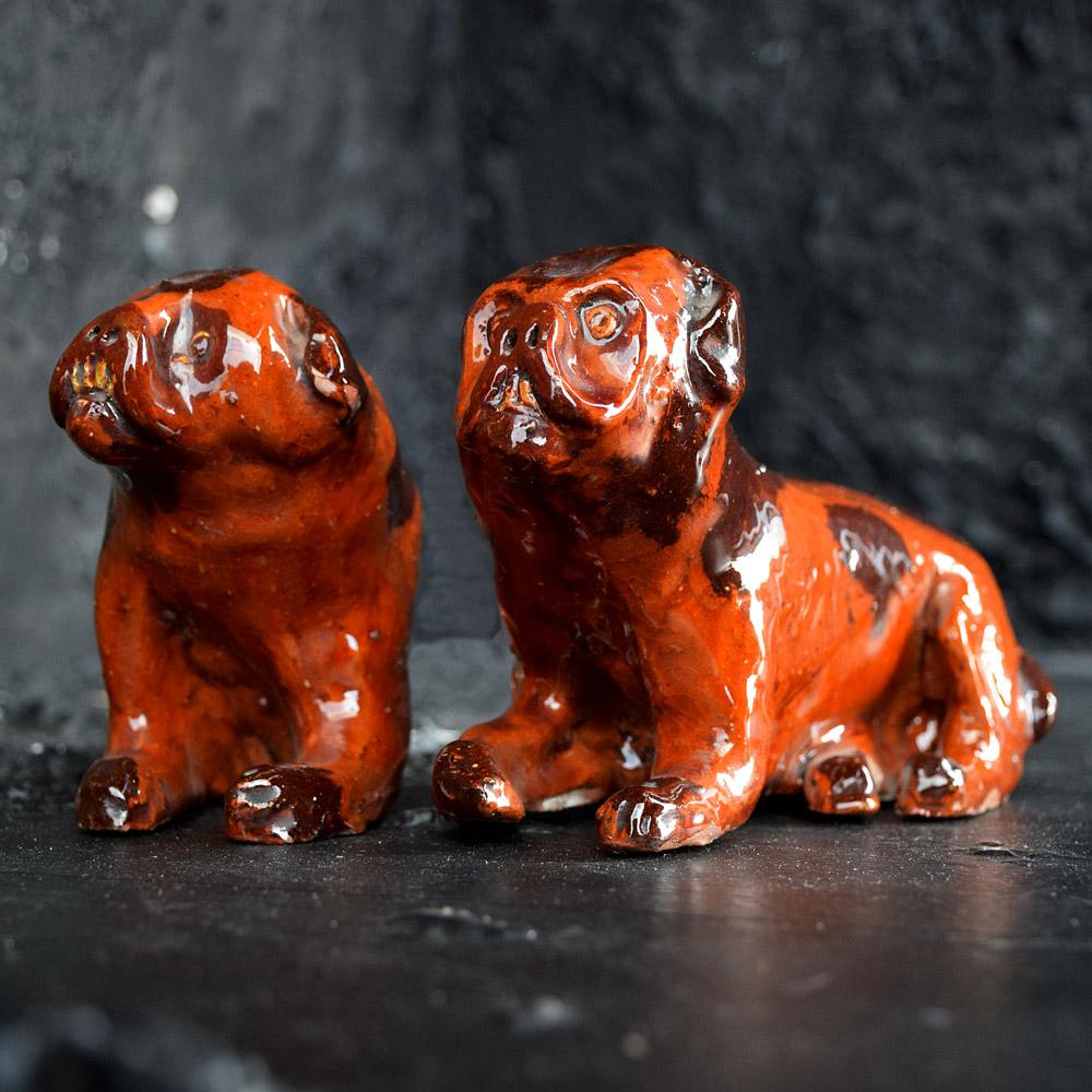 Redware naïve pugs c.1914