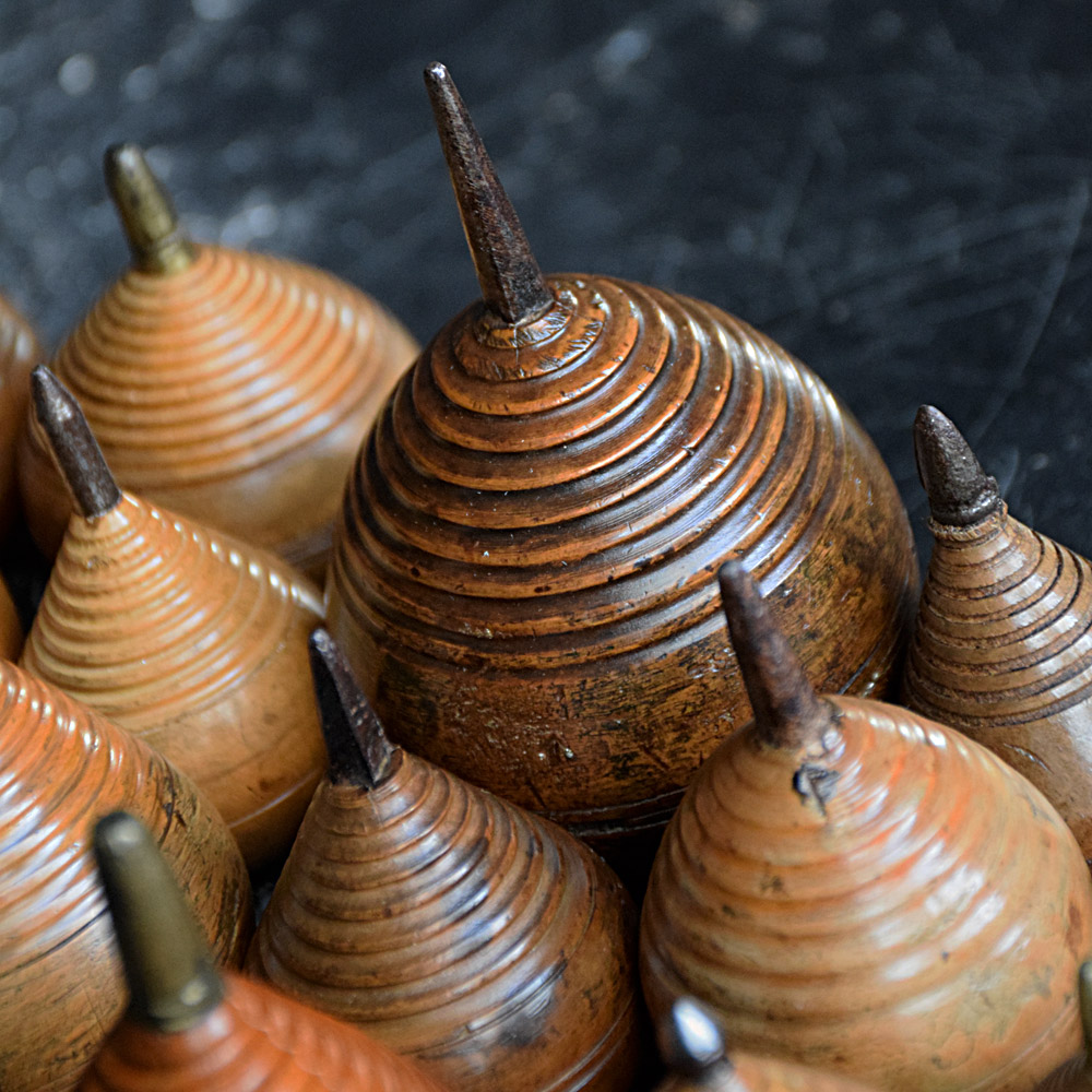Collection of Treen Spinning Tops